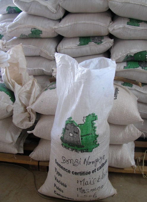À l'UGCPA/BM, chaque surplus de céréale à commercialiser est ensaché avec toutes les informations sur le producteur, puis entreposé dans les magasins-entrepôts commun.