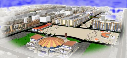 Une vue modélisée de ce que à quoi doit finir par ressembler la ZACA, selon le consortium d'urbanisme G2 Conception.